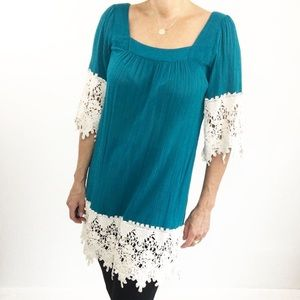 UMGEE Turquoise Lace Tunic Boho Dress